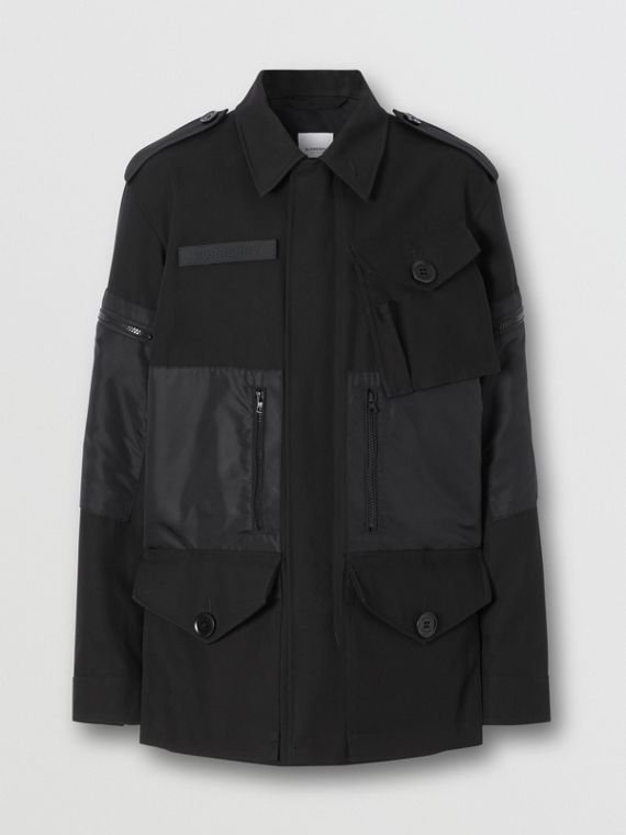 Cotton Gabardine Field Jacket in Black
