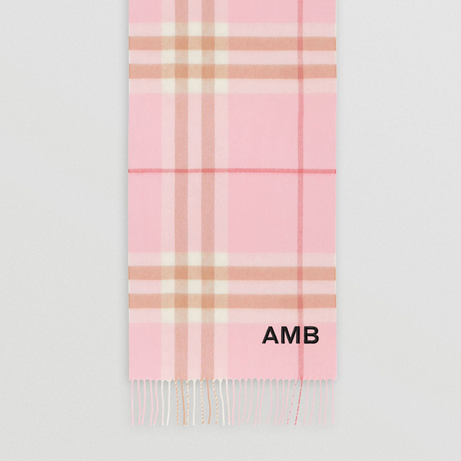 The Classic Check Cashmere Scarf in Candy Pink | Burberry - gallery image 8