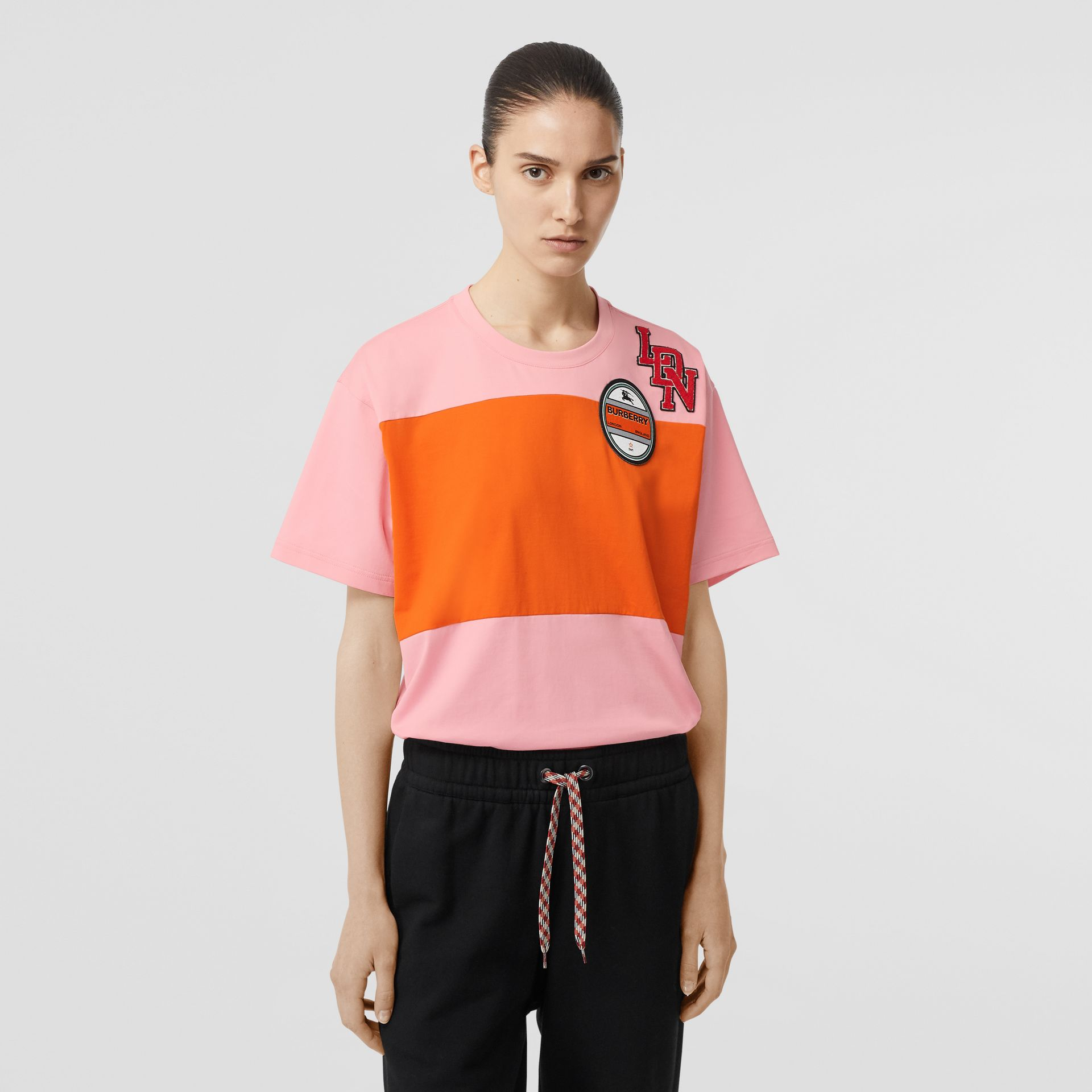 Logo Graphic Panelled Cotton Oversized T-shirt in Candy Pink - Women | Burberry Australia - gallery image 5