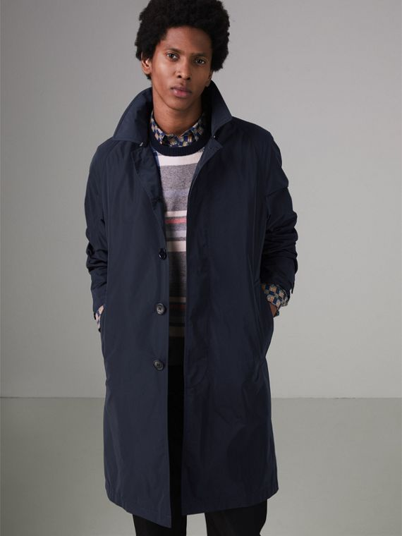 Shape-memory Taffeta Car Coat in Navy