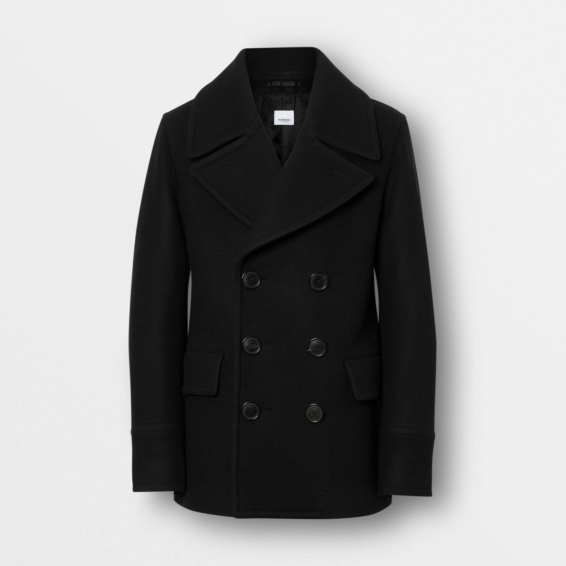Wool Blend Pea Coat in Black - Men | Burberry - gallery image 3