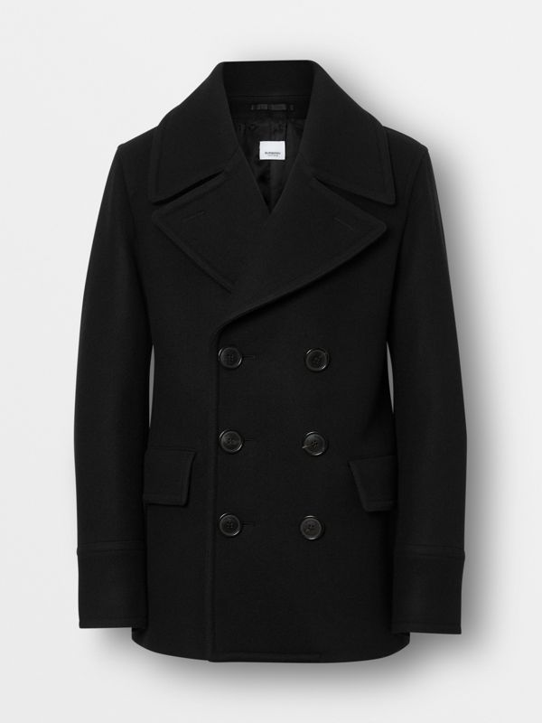 Wool Blend Pea Coat in Black - Men | Burberry - cell image 3
