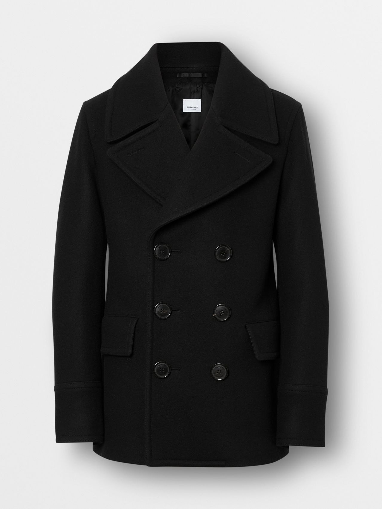 Wool Blend Pea Coat in Black