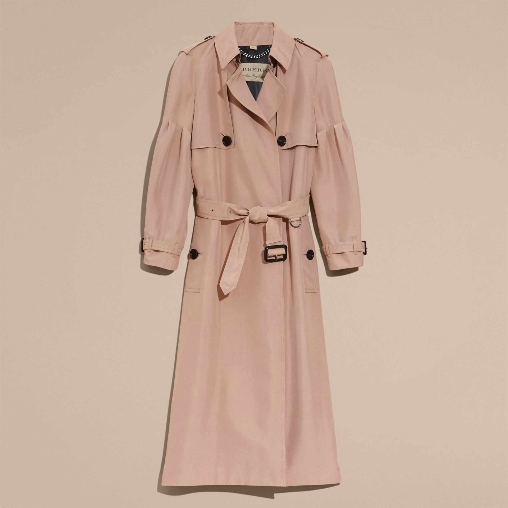Oversize Silk Trench Coat with Puff Sleeves in Nude - gallery image 4