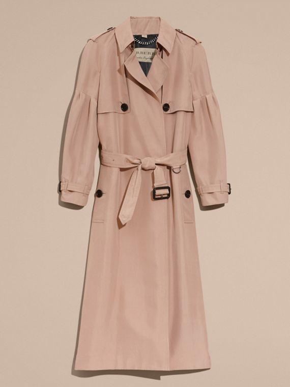 Oversize Silk Trench Coat with Puff Sleeves in Nude - cell image 3