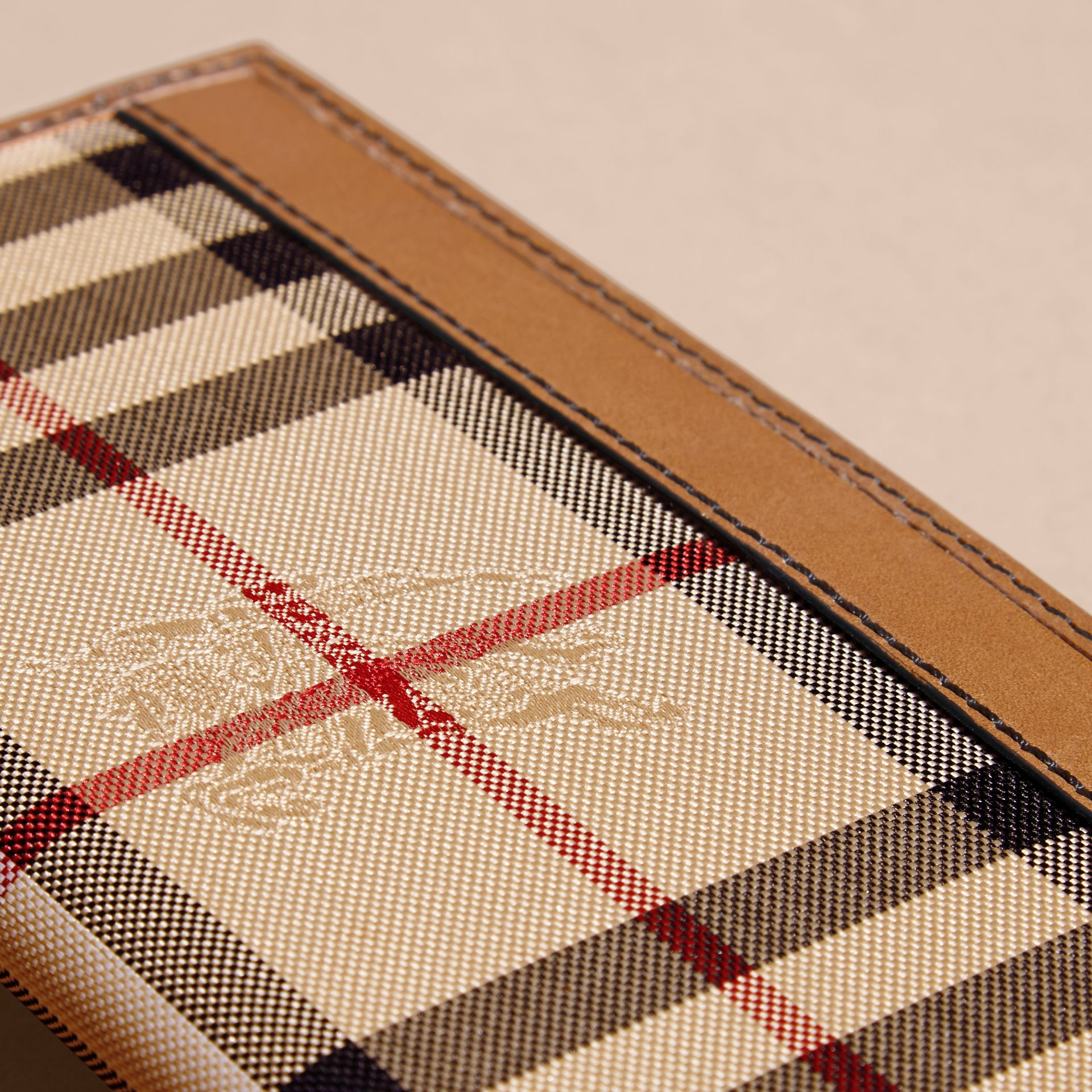 Small Horseferry Check Currency Wallet in Tan - Men | Burberry United Kingdom - gallery image 1
