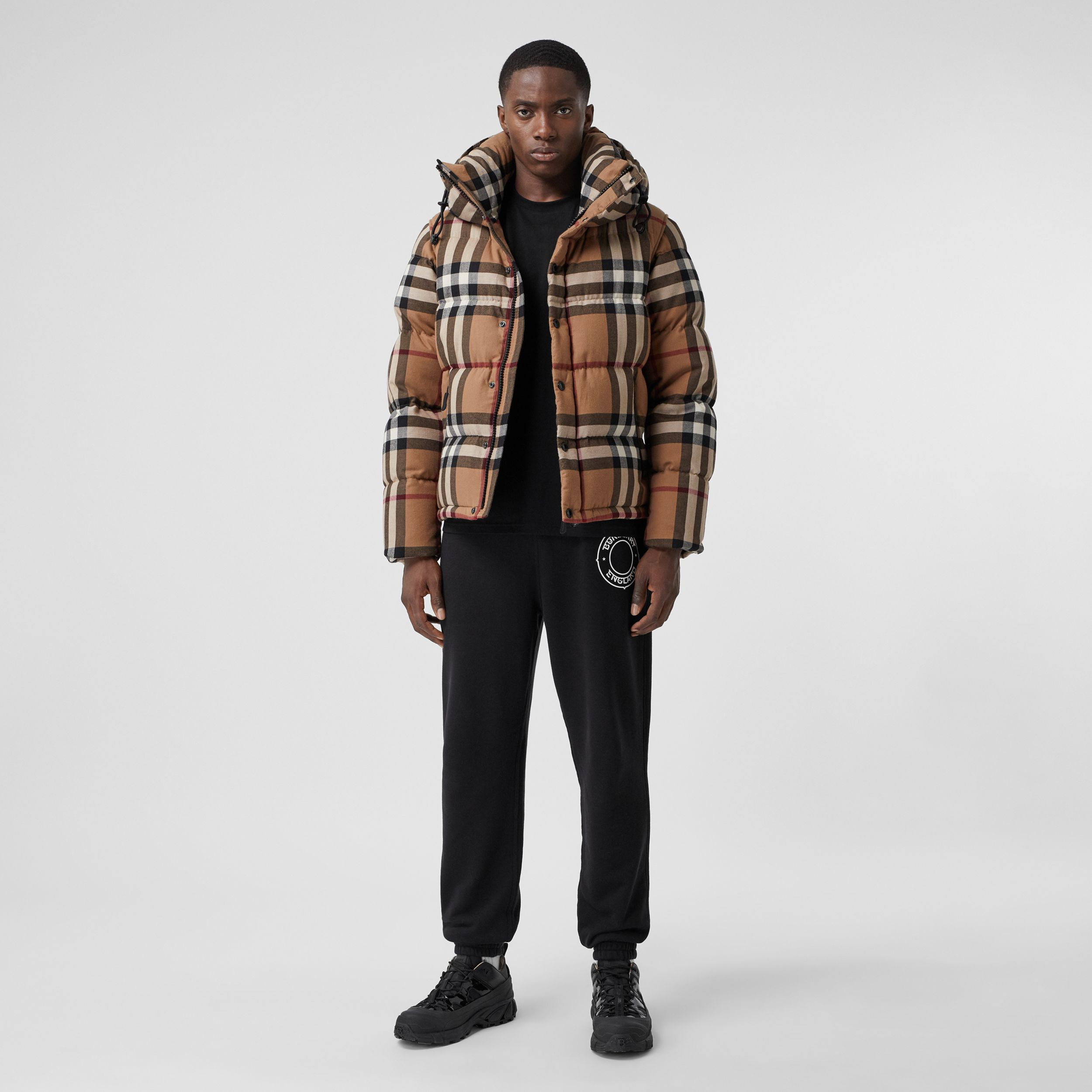 Detachable Sleeve Check Cotton Hooded Puffer Jacket in Birch Brown - Men | Burberry - 1