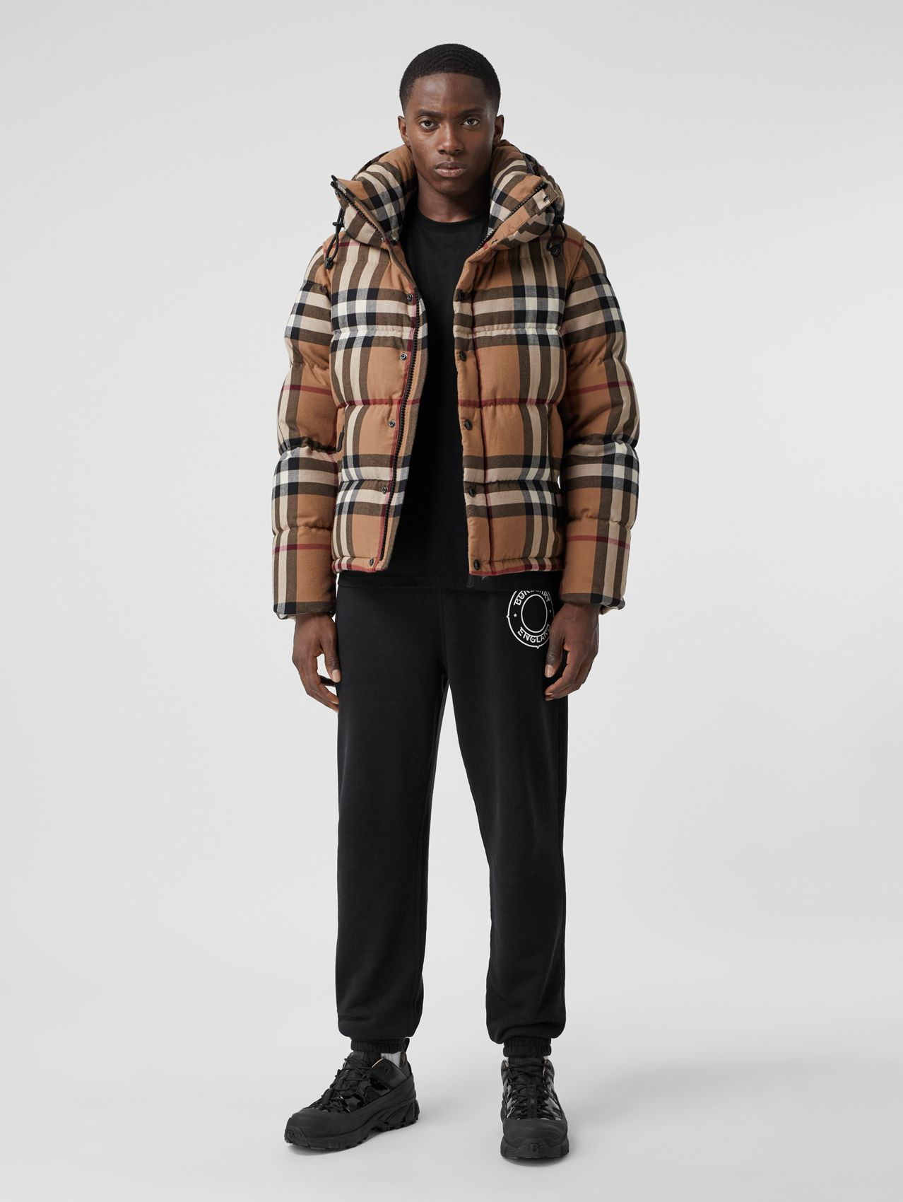 Detachable Sleeve Check Cotton Hooded Puffer Jacket in Birch Brown