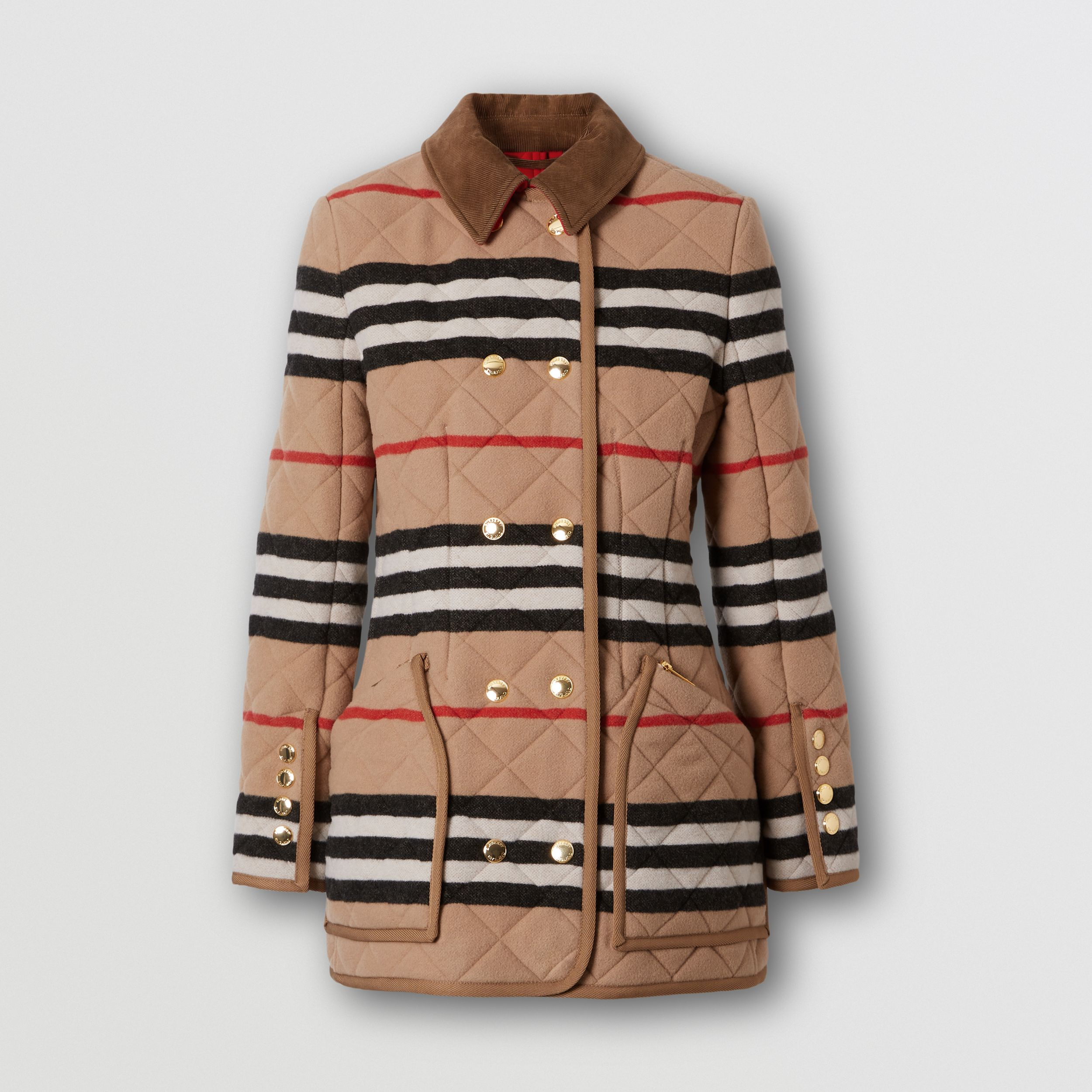 Icon Stripe Diamond Quilted Wool Riding Jacket in Light Camel - Women | Burberry - 4