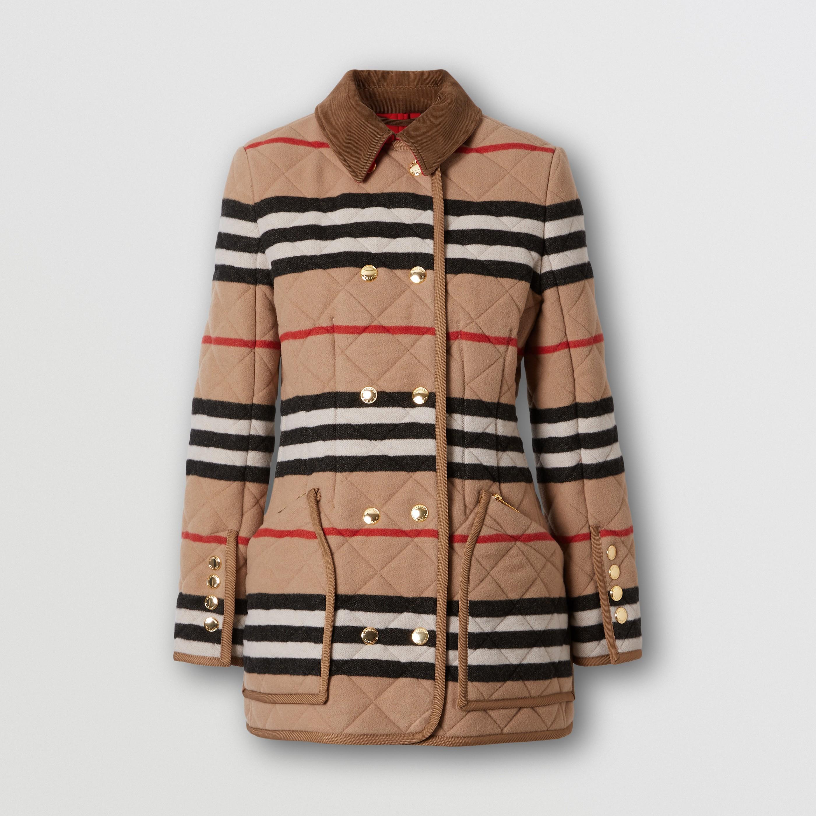 Giacca in lana con trapuntatura a rombi e iconico motivo a righe (Cammello Chiaro) - Donna   Burberry - 4