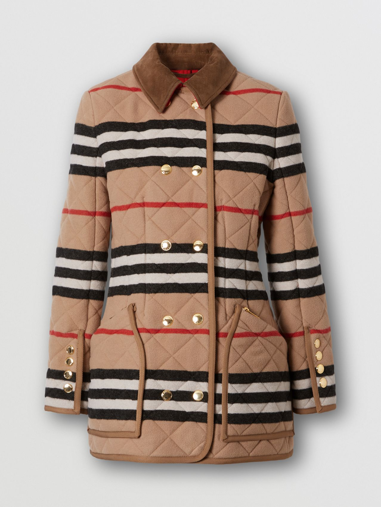 Icon Stripe Diamond Quilted Wool Riding Jacket in Light Camel