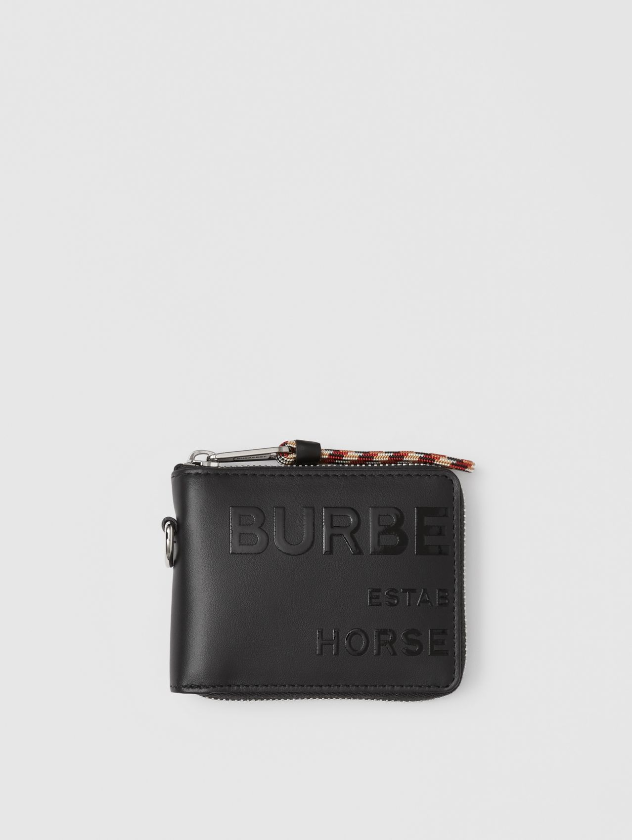 Horseferry Print Leather Ziparound Wallet in Black