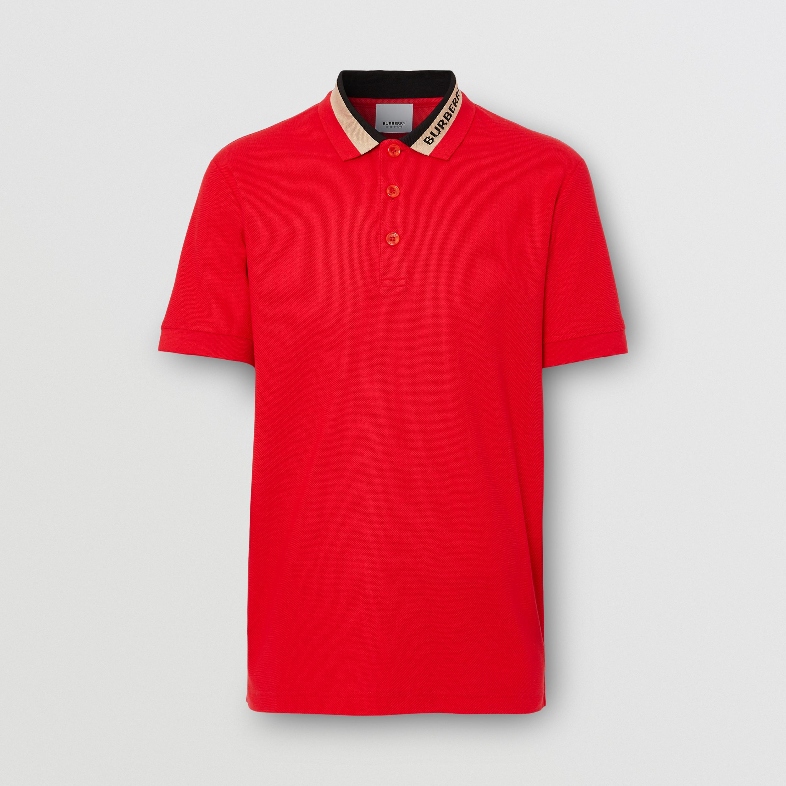 Logo Detail Cotton Piqué Polo Shirt in Bright Red - Men | Burberry - 4