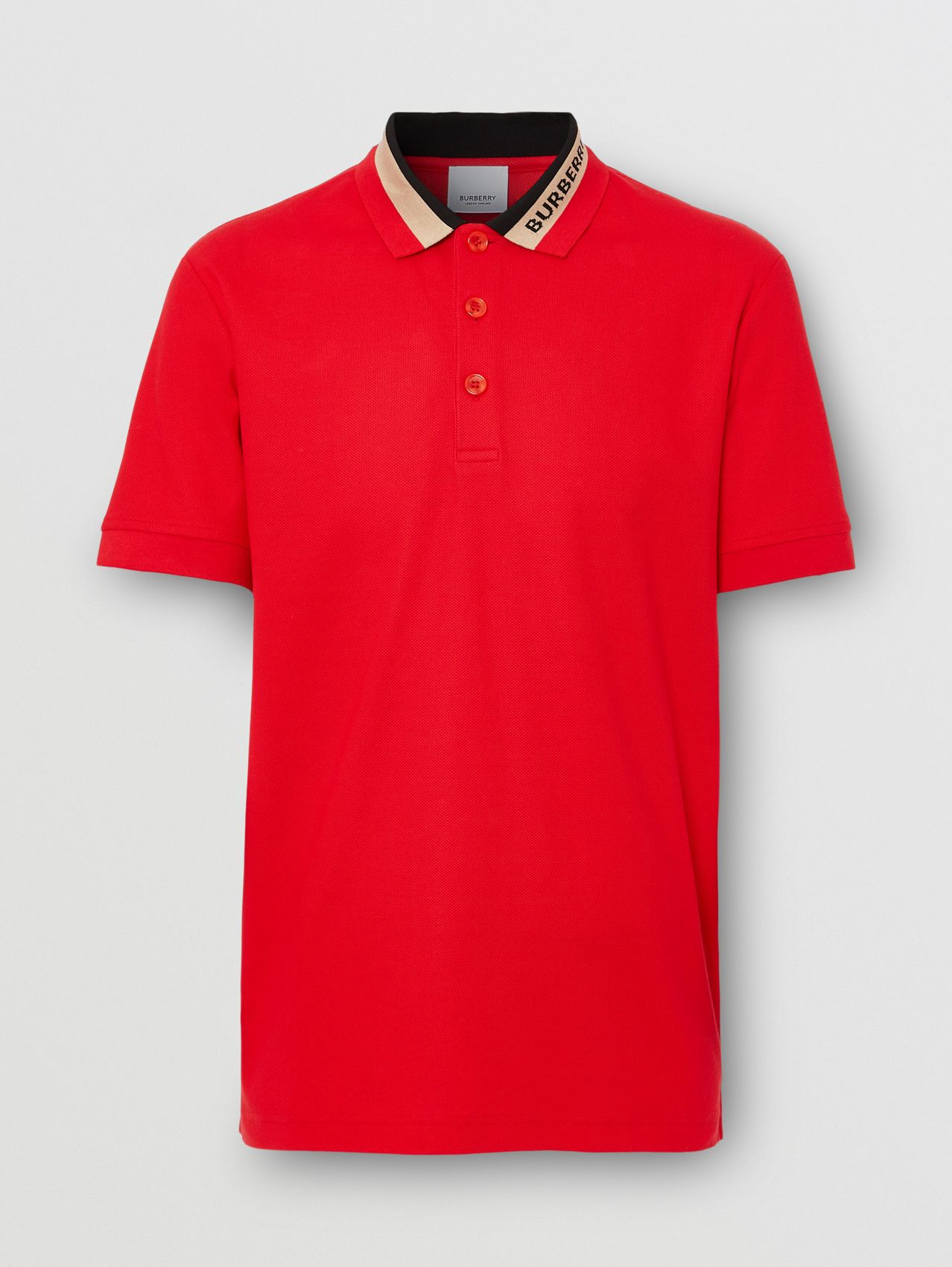 Logo Detail Cotton Piqué Polo Shirt in Bright Red
