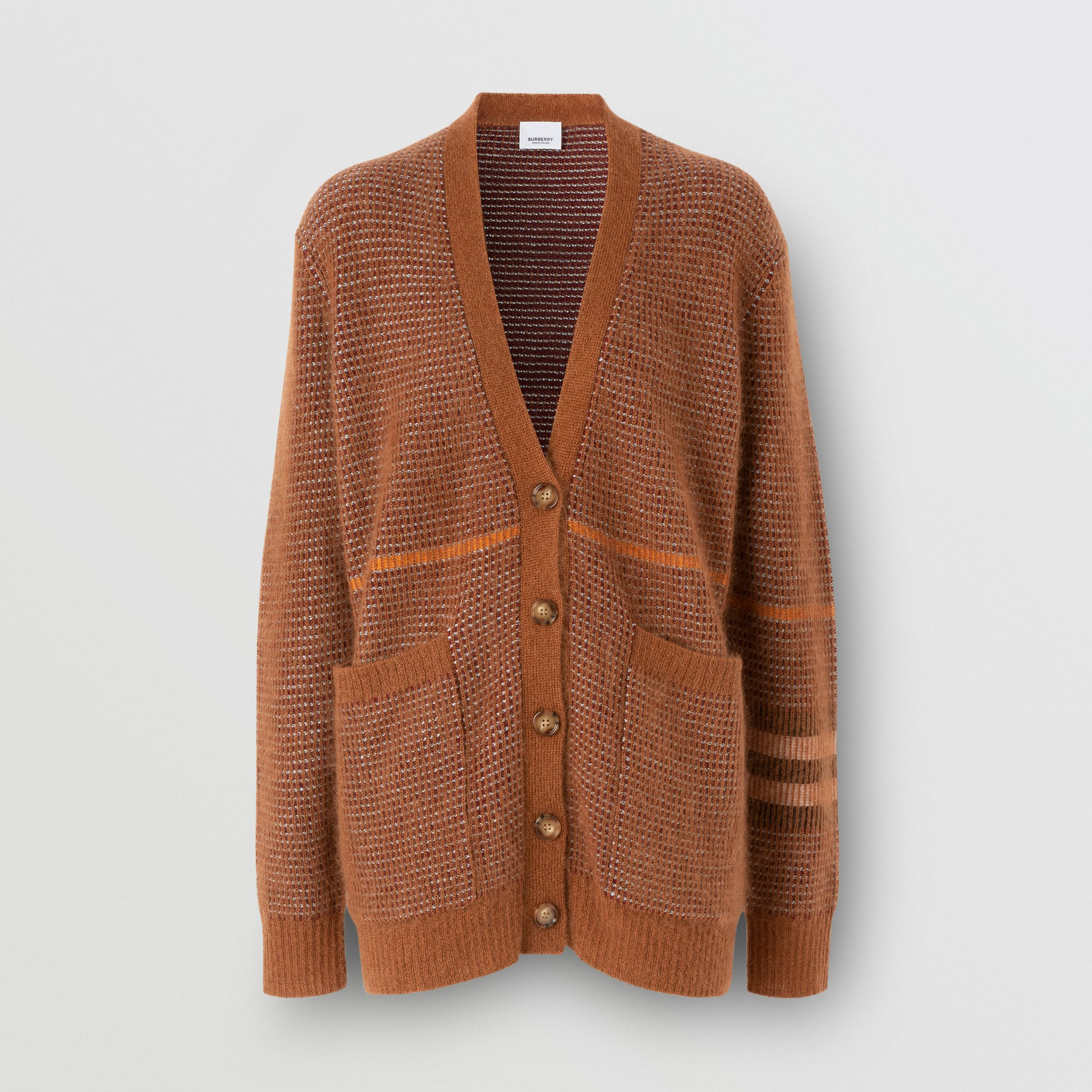 Check Wool Mohair Silk Blend Cardigan in Chestnut - Women | Burberry - 4