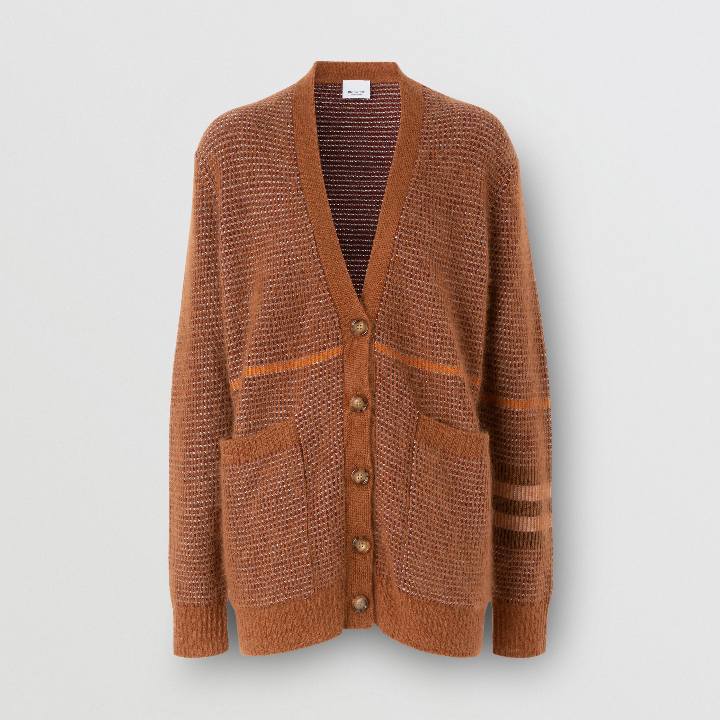 Cardigan in misto lana, mohair e seta con motivo tartan (Castano) - Donna   Burberry - 4