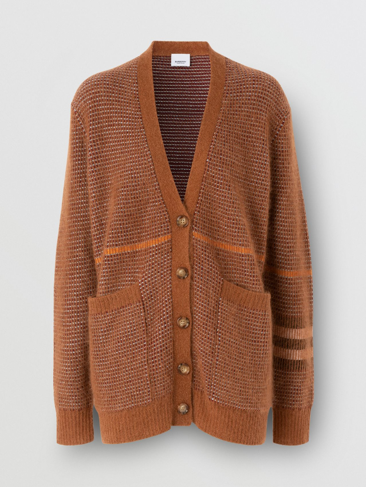 Check Wool Mohair Silk Blend Cardigan in Chestnut