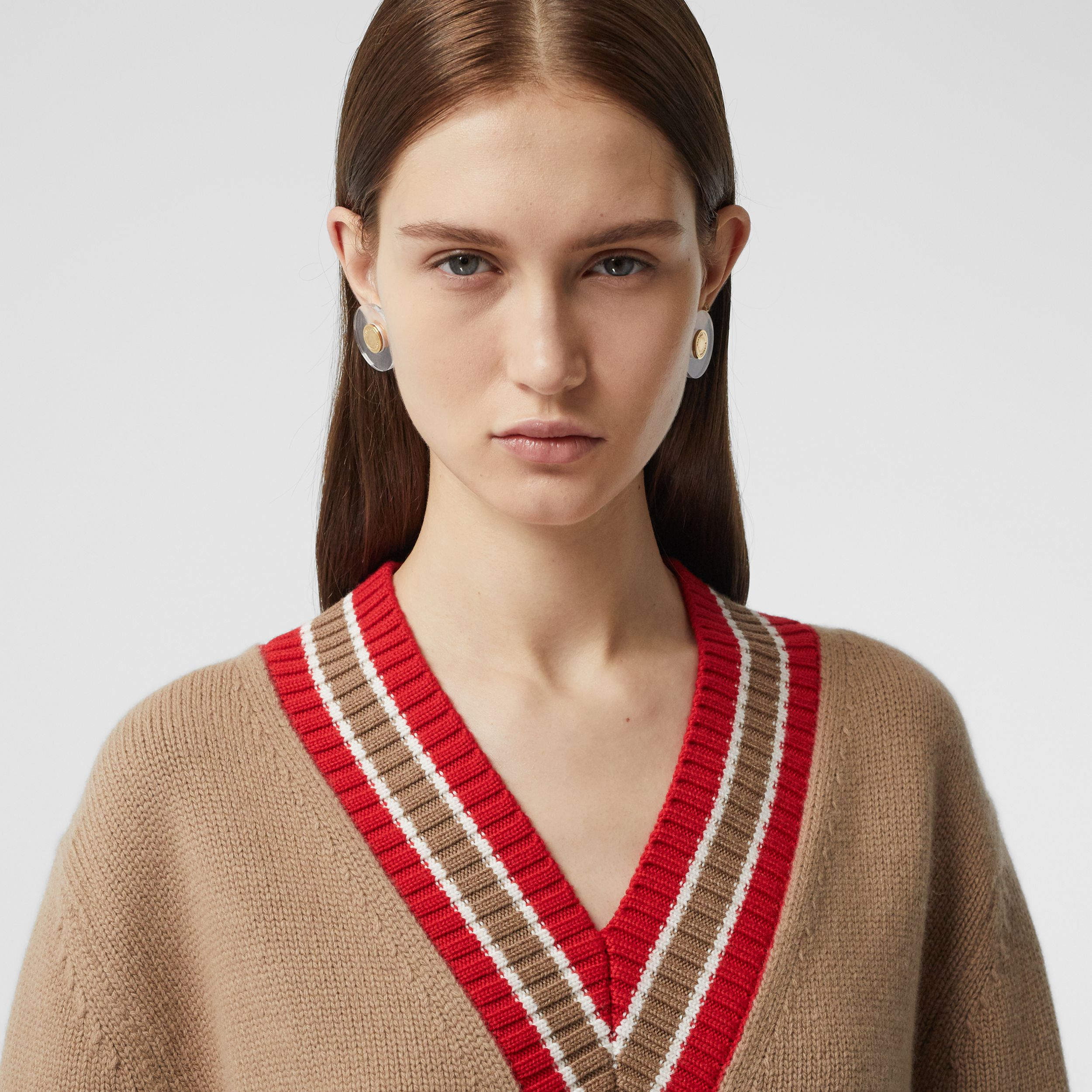 Wool Oversized Cricket Sweater in Camel - Women | Burberry - 2