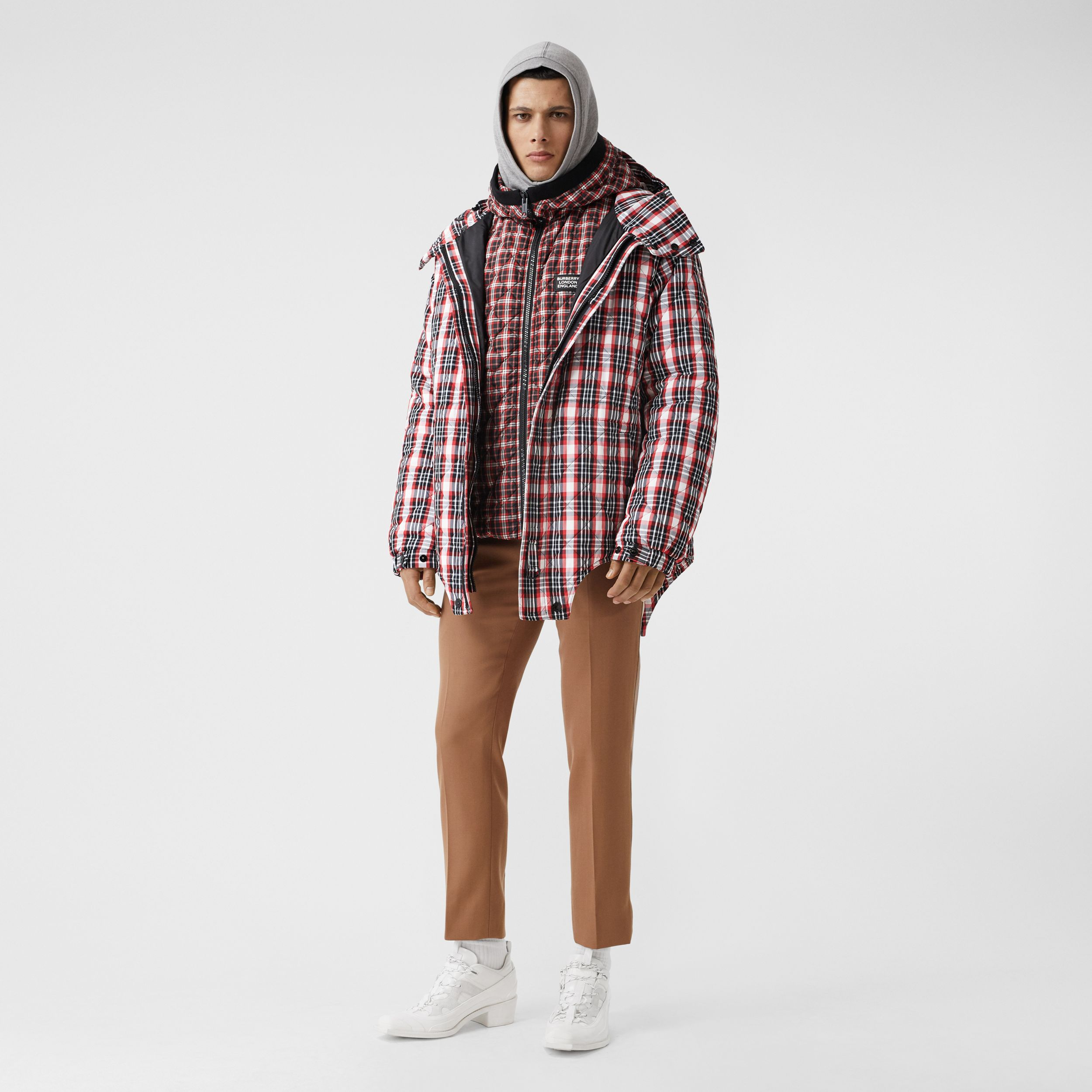 Cut-out Hem Diamond Quilted Check Nylon Parka in Bright Red | Burberry - 1