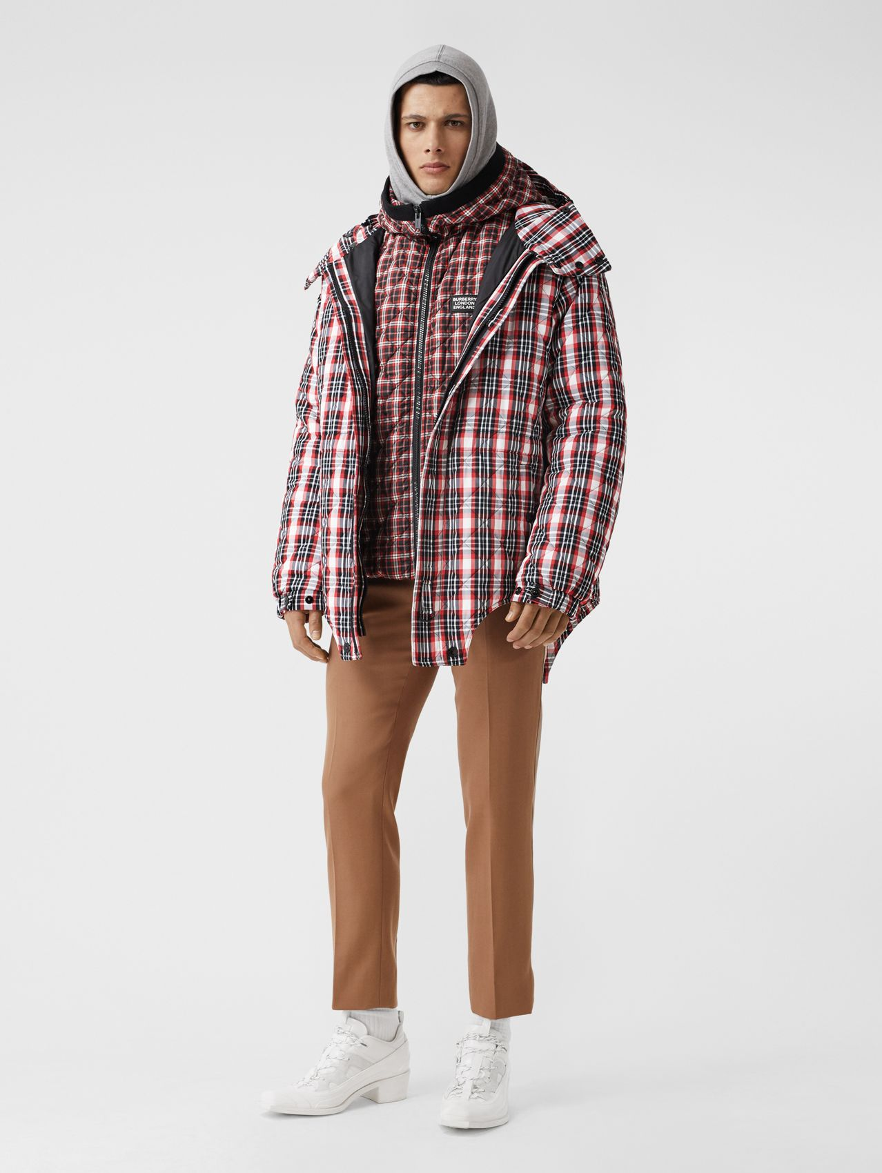 Cut-out Hem Diamond Quilted Check Nylon Parka in Bright Red