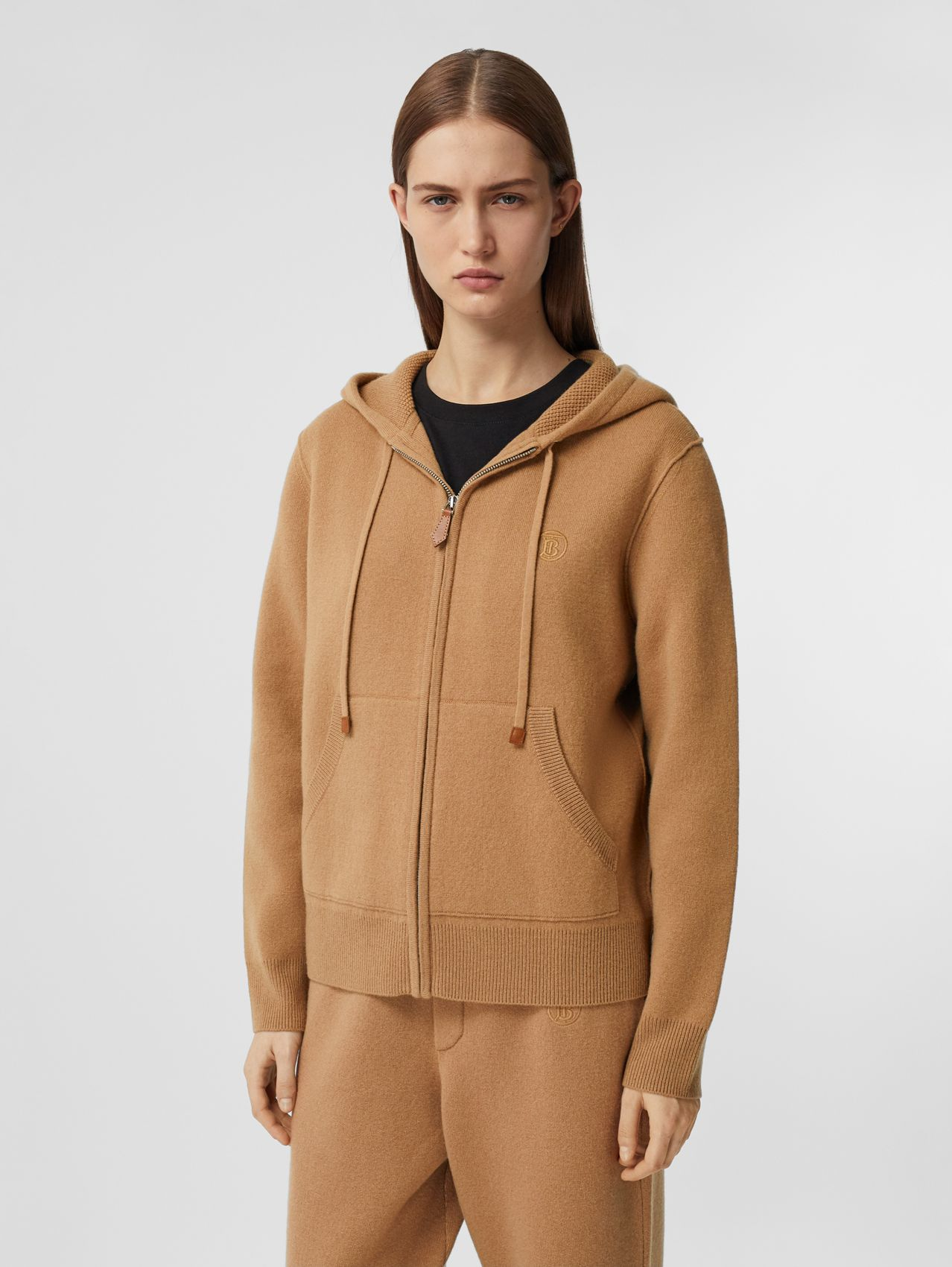 Monogram Motif Cashmere Blend Hooded Top in Camel