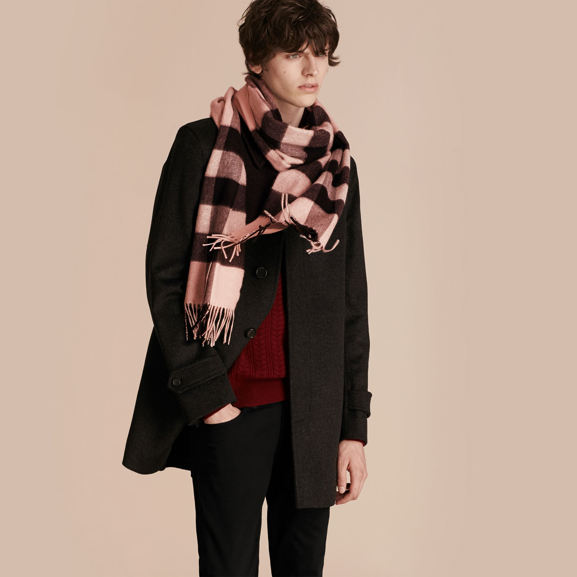 Ash rose The Large Classic Cashmere Scarf in Check Rose - gallery image 4