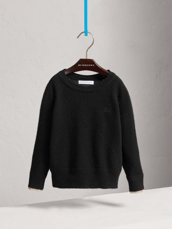 Check Detail Cashmere Sweater in Black - Girl | Burberry - cell image 2