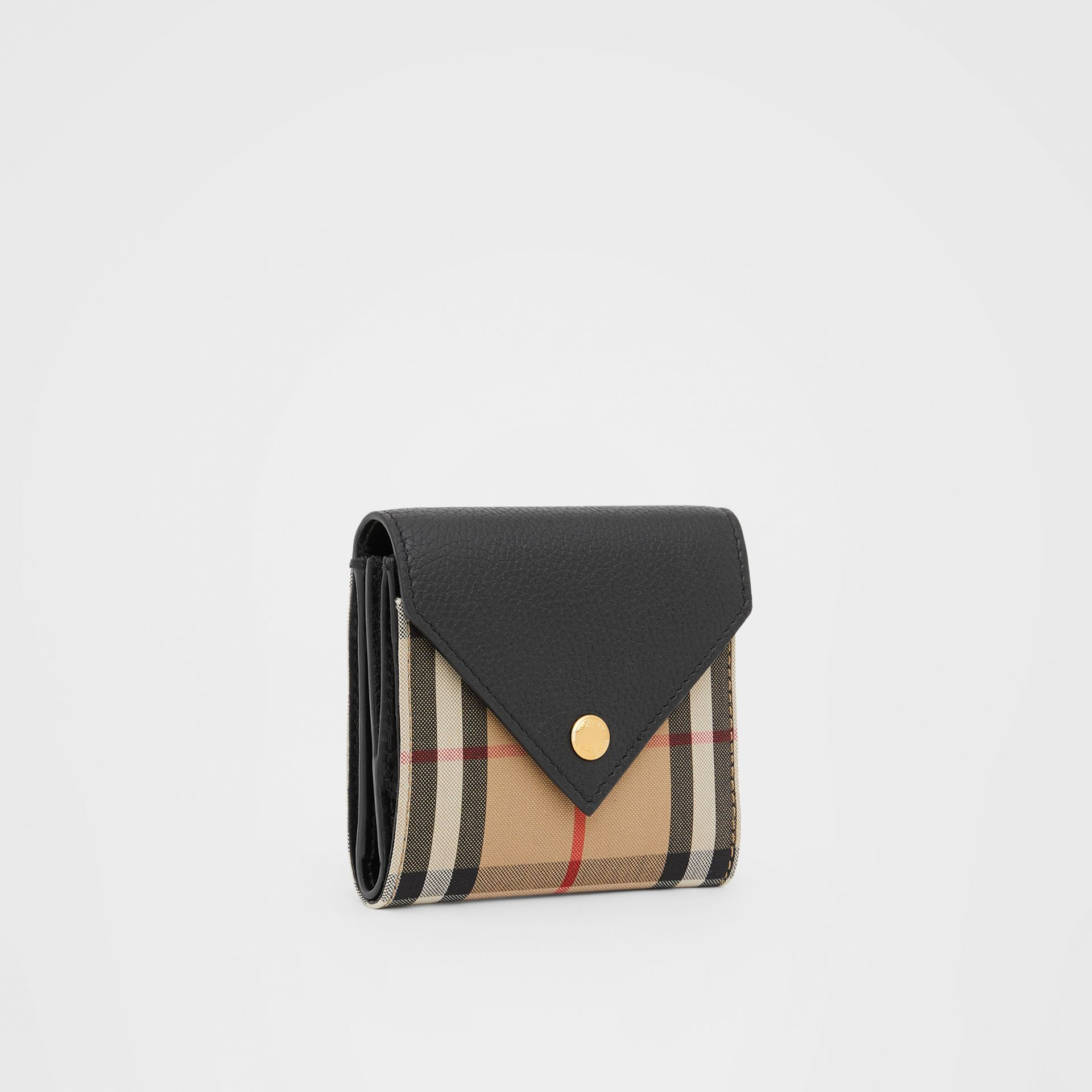 Vintage Check and Grainy Leather Folding Wallet in Black - Women | Burberry Hong Kong S.A.R - gallery image 3