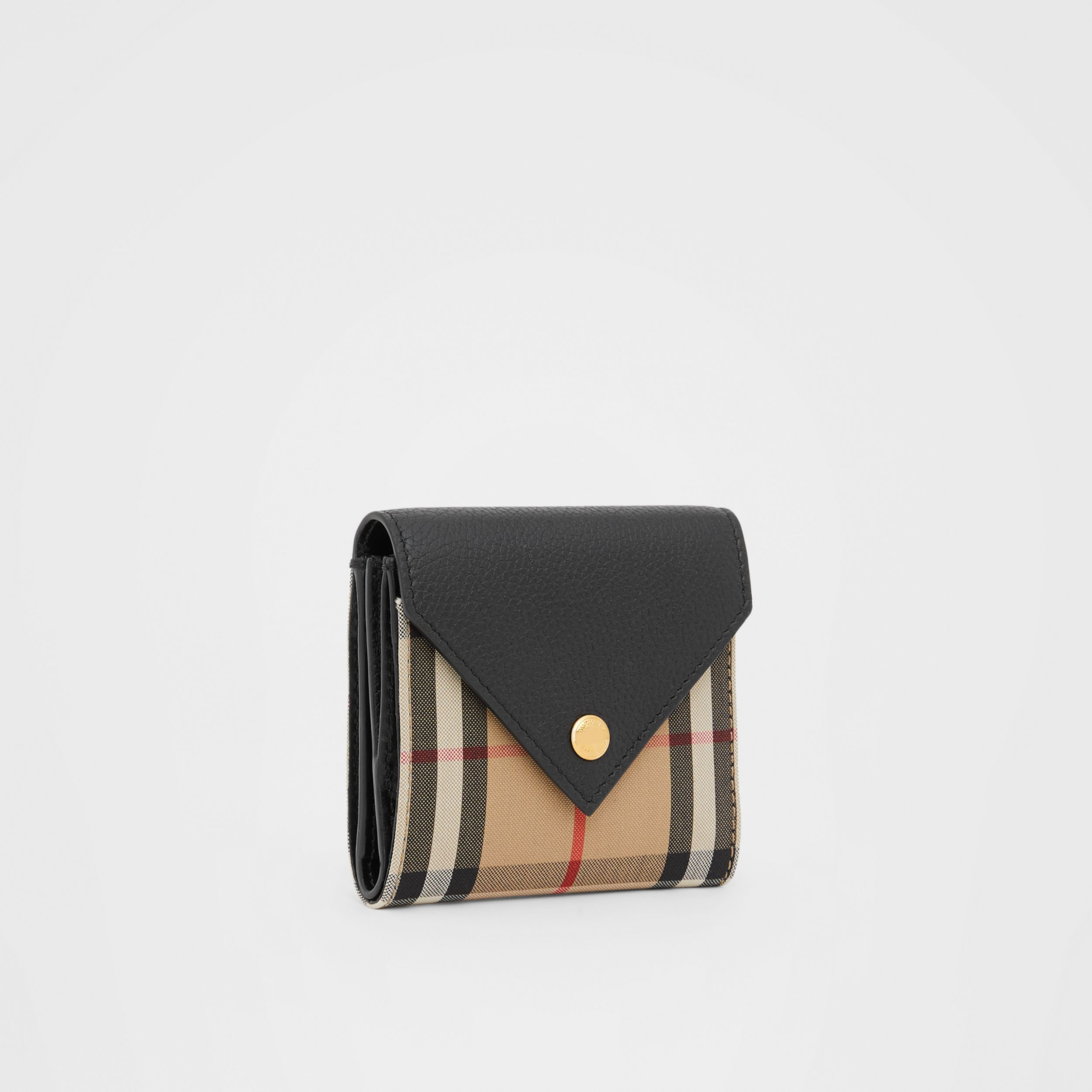 Vintage Check and Grainy Leather Folding Wallet in Black - Women | Burberry - 4