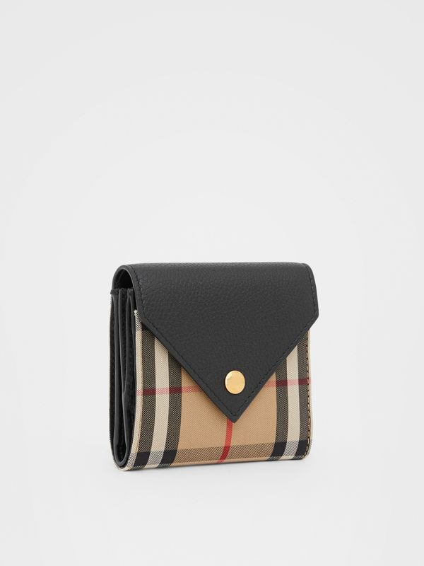 Vintage Check and Grainy Leather Folding Wallet in Black - Women | Burberry Hong Kong S.A.R - cell image 3