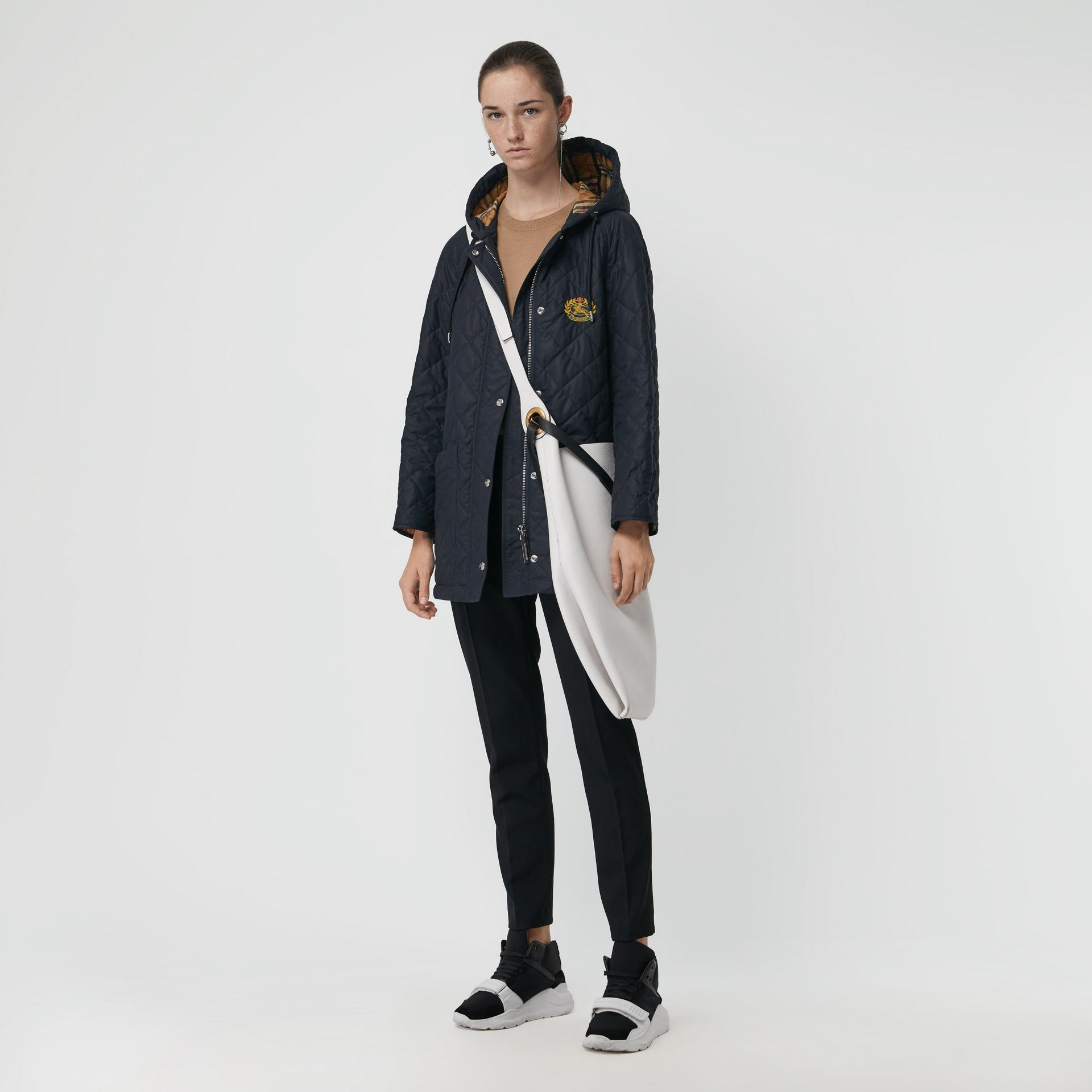 Diamond Quilted Oversized Hooded Parka in Navy - Women | Burberry - gallery image 0