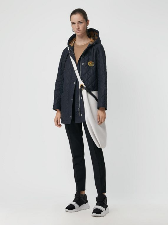 Diamond Quilted Oversized Hooded Parka in Navy
