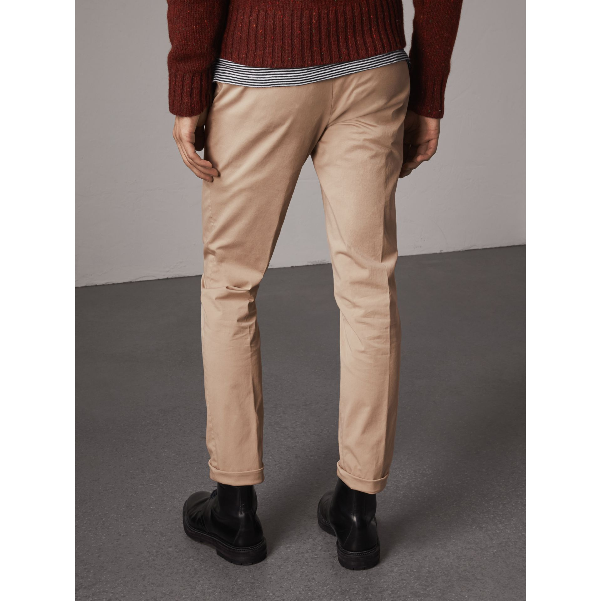 Slim Fit Stretch Cotton Chinos in Stone - Men | Burberry - gallery image 3