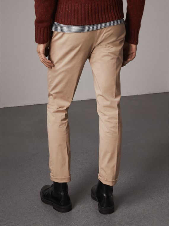 Slim Fit Stretch Cotton Chinos in Stone - Men | Burberry - cell image 2