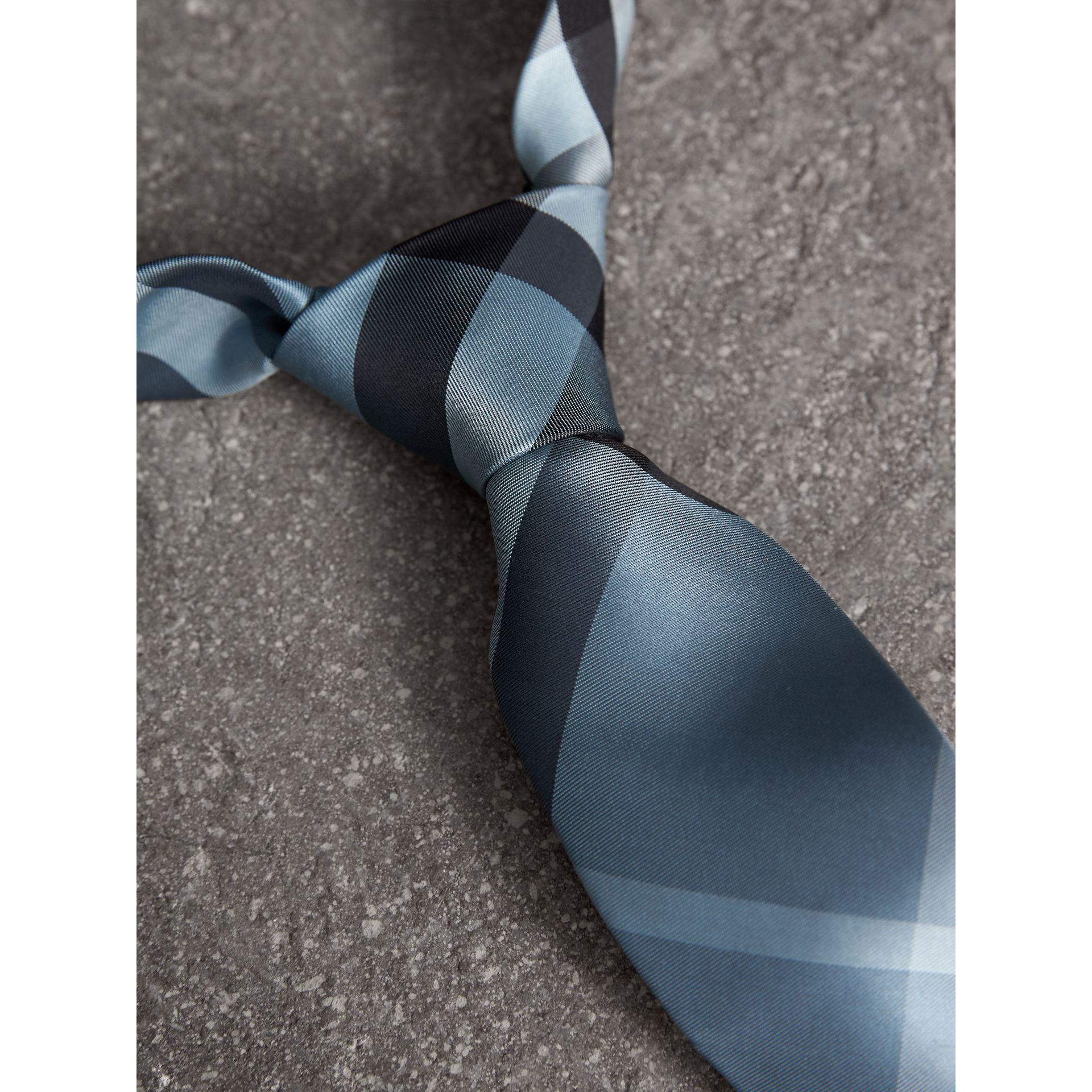 Modern Cut Check Silk Tie in Light Blue - Men | Burberry United Kingdom - gallery image 1