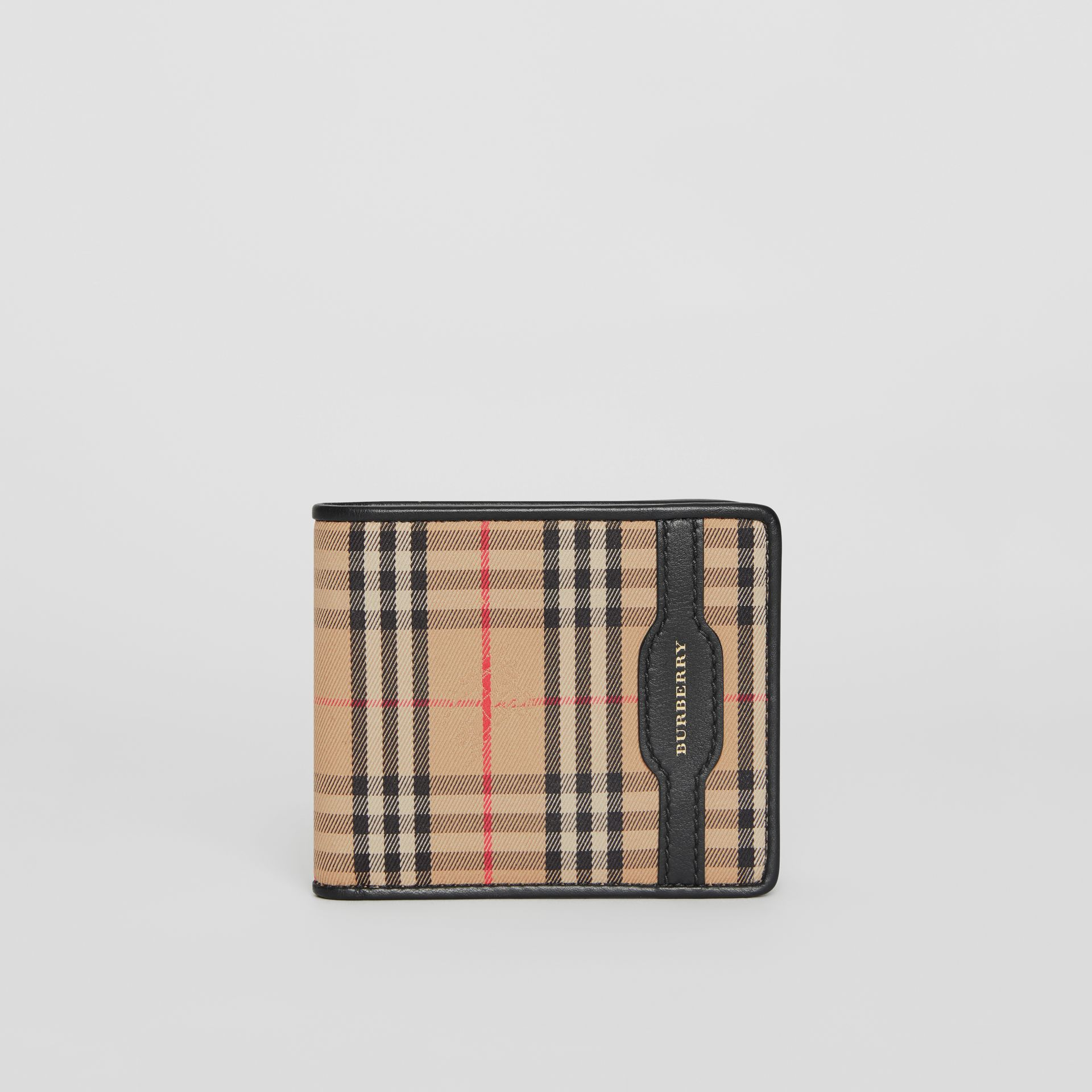1983 Check and Leather International Bifold Wallet in Black - Men | Burberry Australia - gallery image 2
