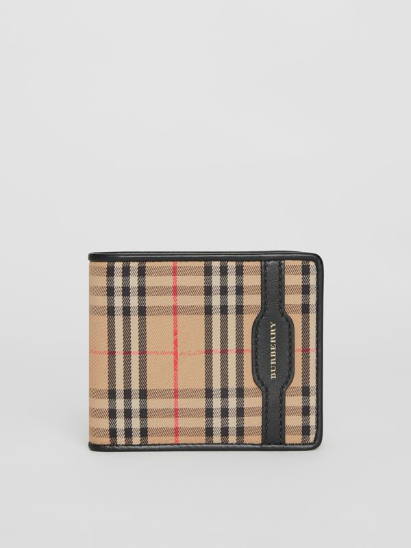 1983 Check and Leather International Bifold Wallet in Black - Men | Burberry Australia - cell image 2