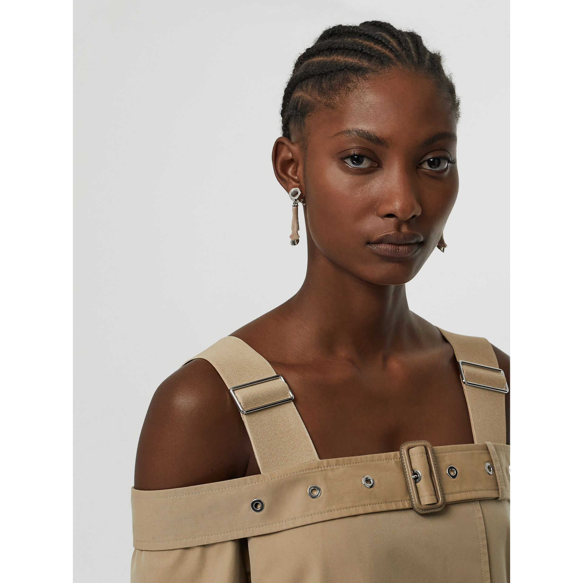 Cotton Gabardine Deconstructed Trench Dress in Pale Honey - Women | Burberry Singapore - gallery image 1
