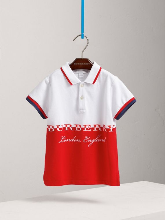 Embroidered Two-tone Cotton Piqué Polo Shirt in Bright Orange Red - Boy | Burberry - cell image 2