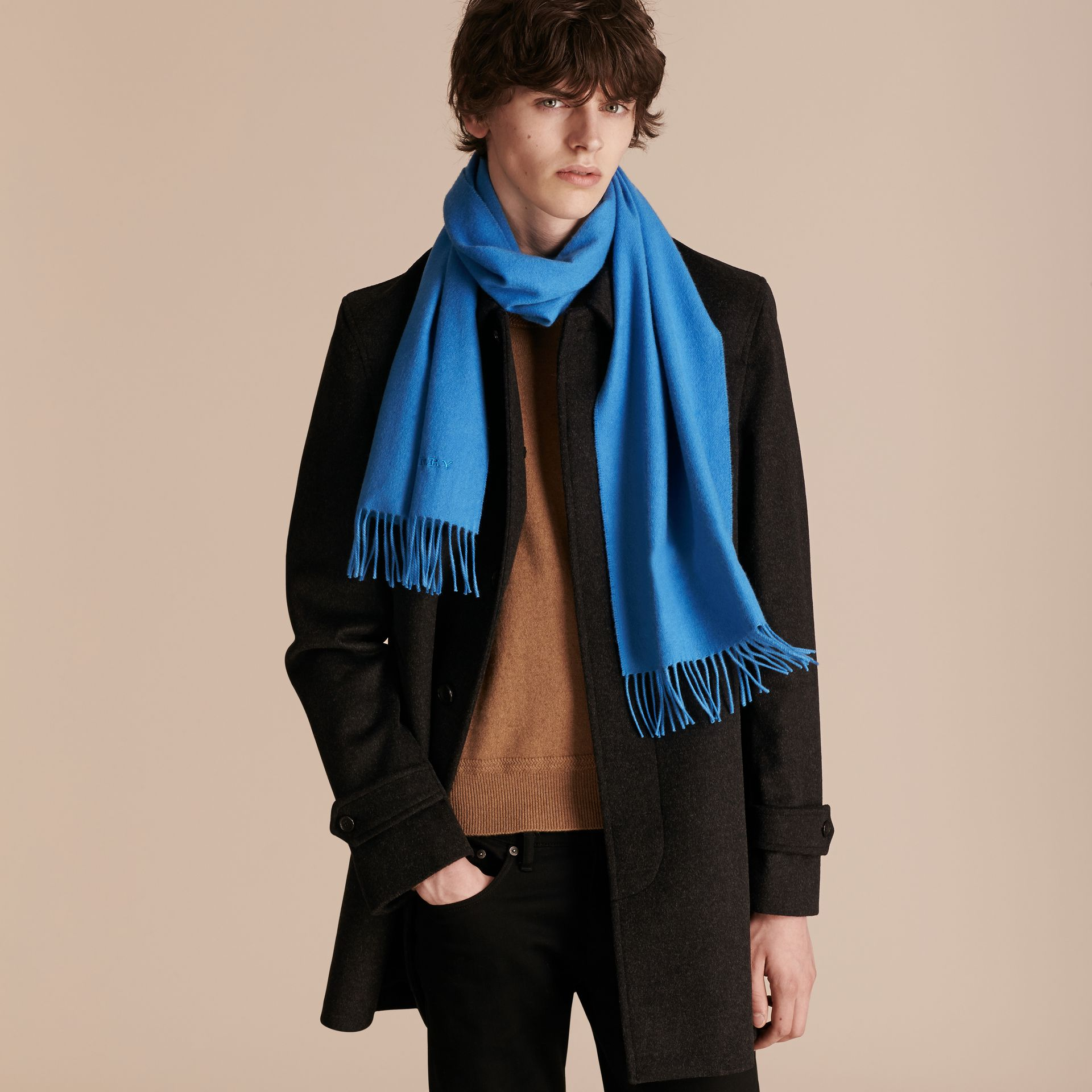 The Classic Cashmere Scarf Bright Cornflower Blue - gallery image 4