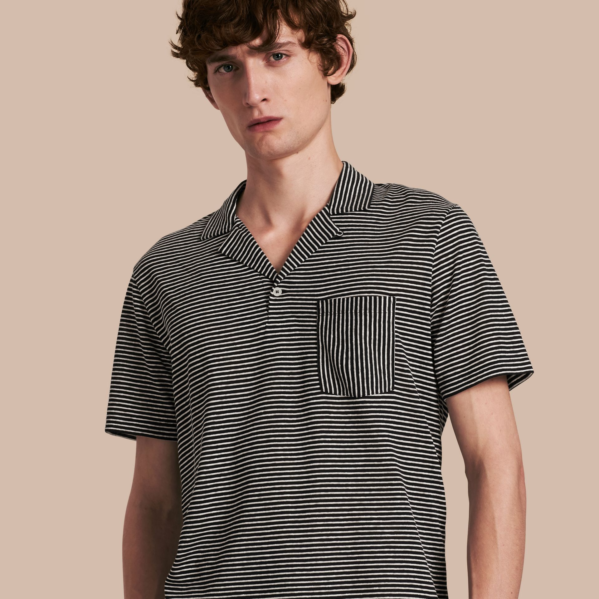Striped Cotton Linen Polo Shirt - gallery image 1