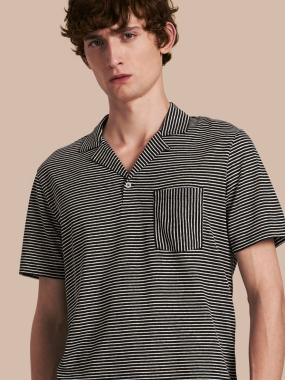Striped Cotton Linen Polo Shirt