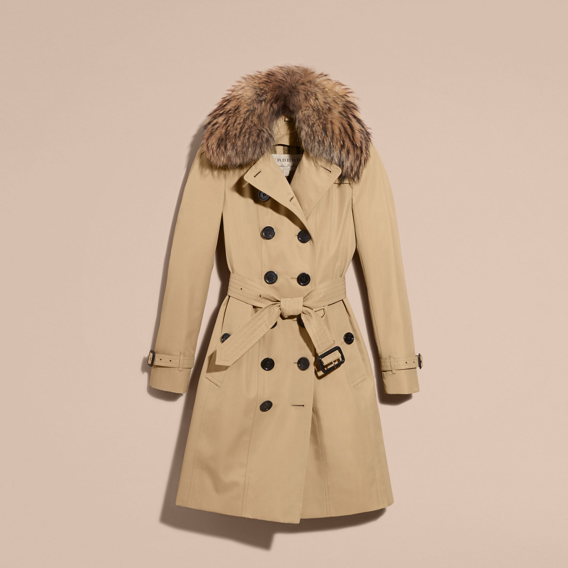 Cotton Gabardine Trench Coat with Detachable Fur Trim in Honey - gallery image 4