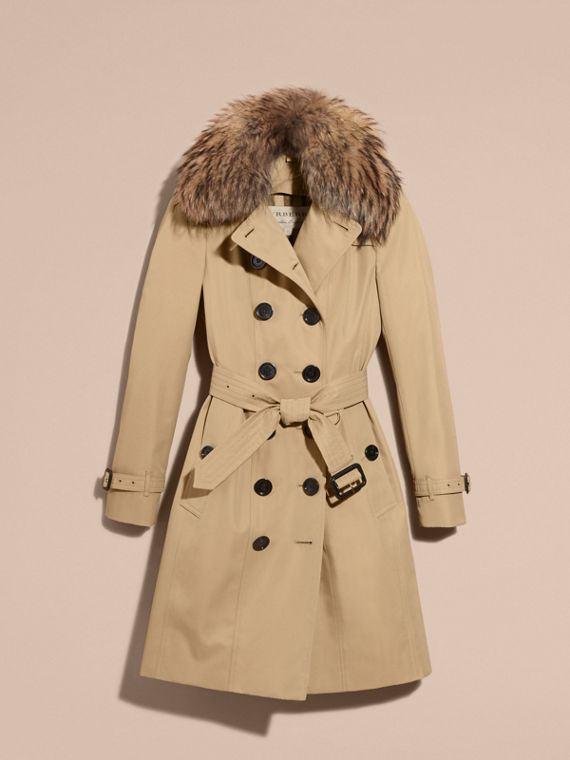 Cotton Gabardine Trench Coat with Detachable Fur Trim in Honey - cell image 3