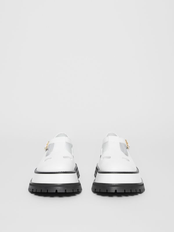 Leather T-bar Shoes in Optic White - Women | Burberry - cell image 3