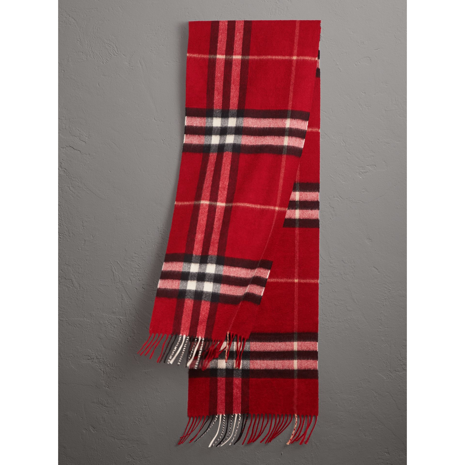 The Classic Check Cashmere Scarf in Parade Red | Burberry Australia - gallery image 1