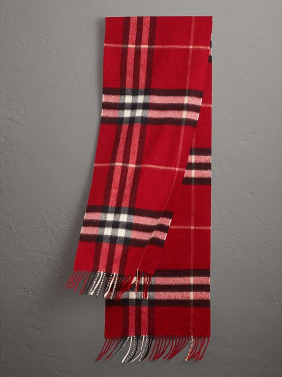 The Classic Check Cashmere Scarf in Parade Red