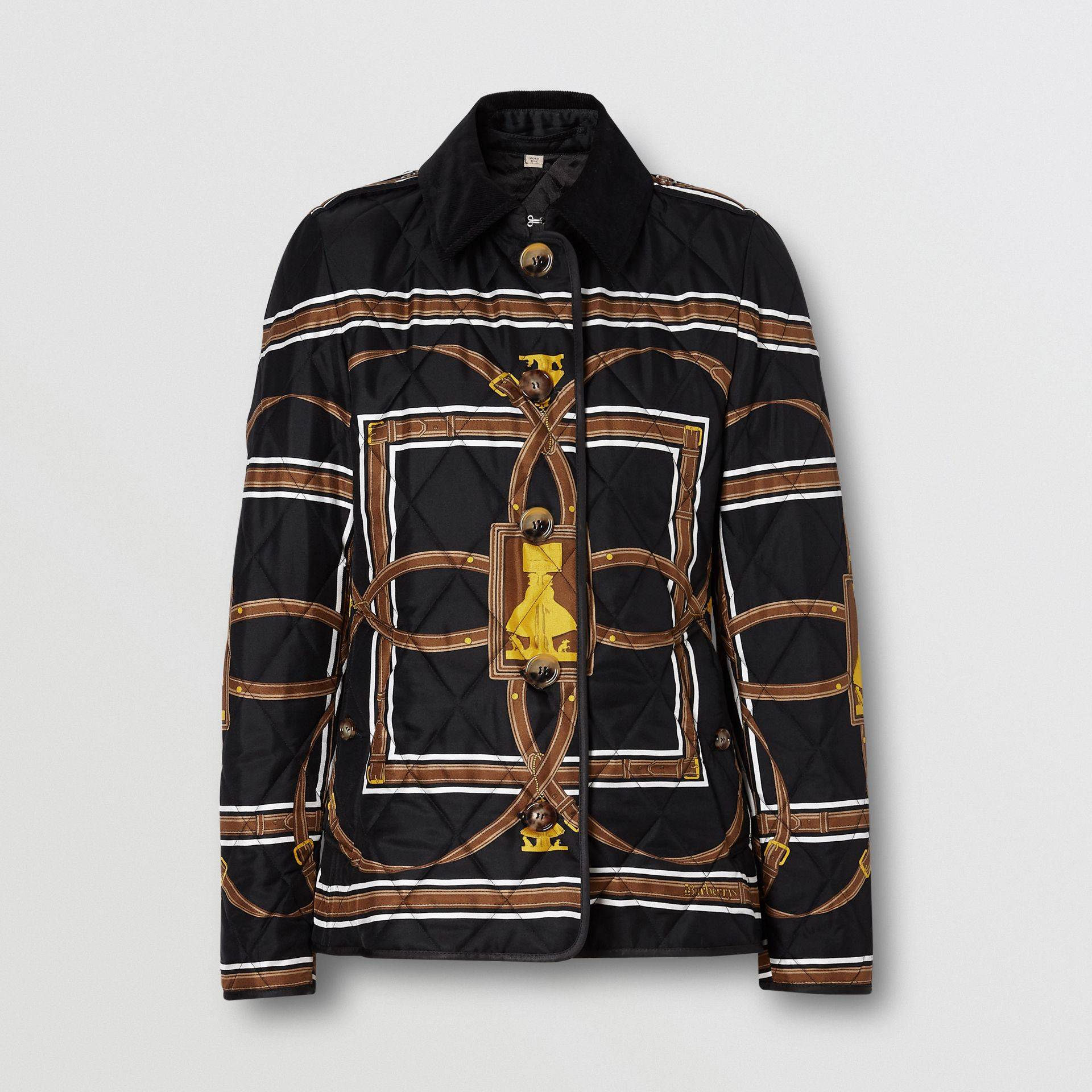 Archive Scarf Print Diamond Quilted Jacket in Black - Women | Burberry - gallery image 3