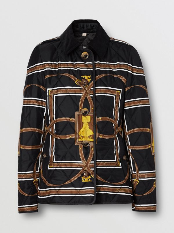 Archive Scarf Print Diamond Quilted Jacket in Black - Women | Burberry - cell image 3