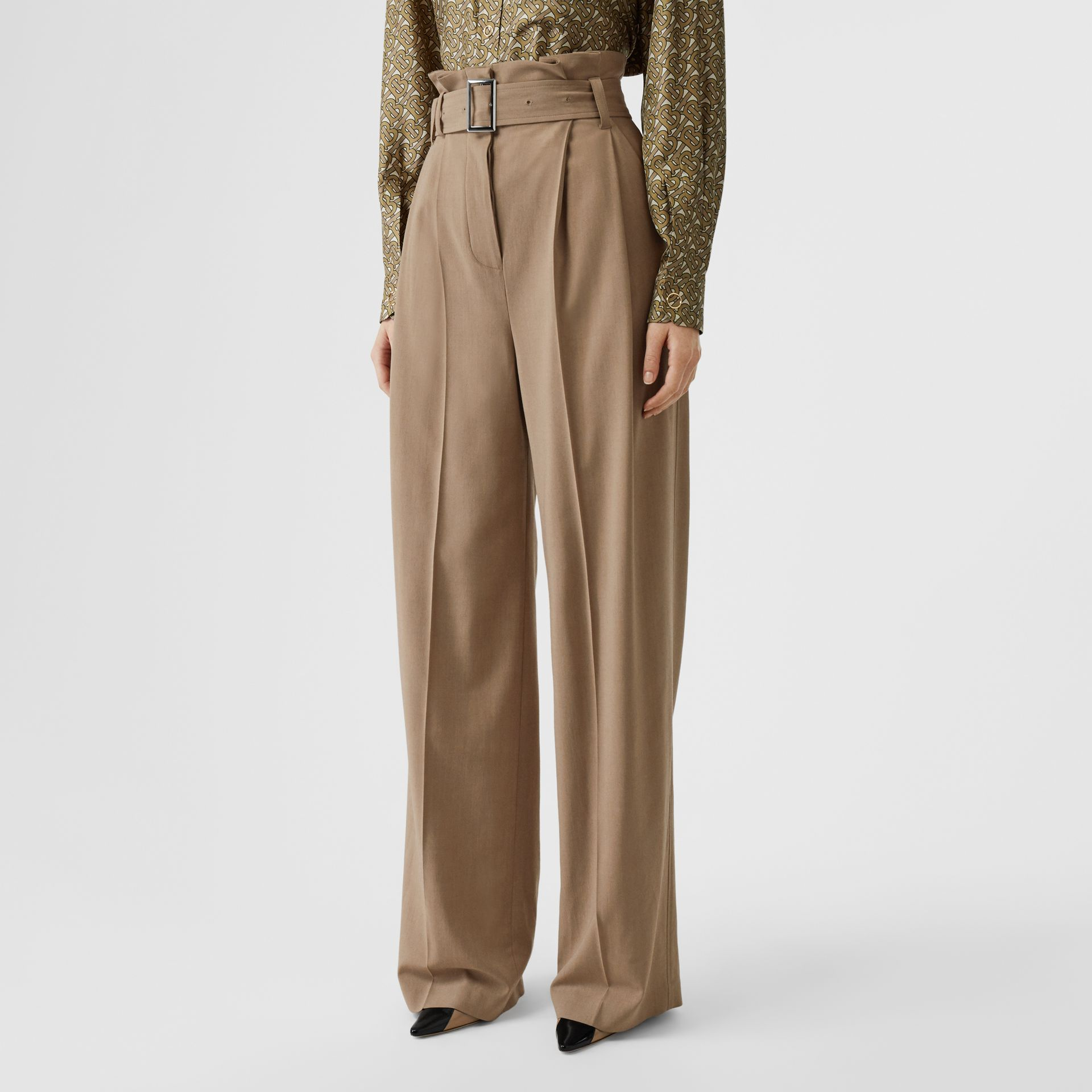 Wool Blend High-waisted Trousers in Warm Taupe - Women | Burberry - gallery image 4